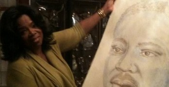 Oprah Holding MLK Portrait Drawn By Michael Jackson